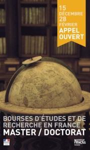 affiche de l'appel à candidature pour les bourses du gouvernement français 2015